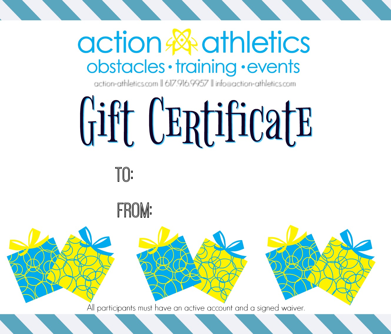 action athletics gift certificate